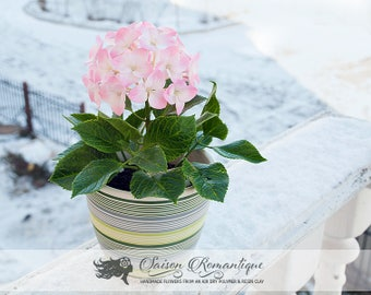 Pink Hydrangea in the pot - Polymer Clay Flowers - Mothers Day Gift for Women Gift For Her Flower Hydrangea
