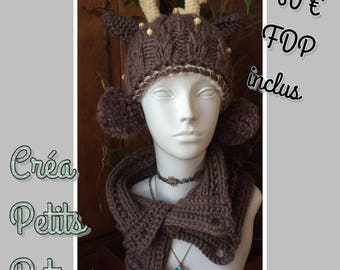 Set of knitting and crochet 100% hand made reindeer Hat & Snood