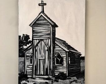 Black and White Church Originals Painting