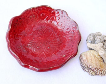 Ring holder ceramic dish, Ceramic plate red for serving,candle,soap,ring holder,earring