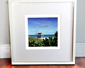 Beach Decor, Tropical Decor, Watercolor, Lifeguard Tower Print, Ocean Print, Miami Beach, Wall Art, Wall Decor, Fine Art Photography,