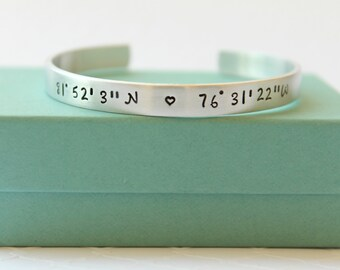 Personalized Bracelet - GPS Coordinate Bracelet - GPS Coordinate Jewelry - Personalized Bracelet - Best Friends Bracelet - Hand Stamped -