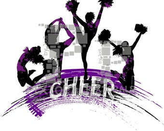 4 Cheerleaders Logo. Line Art, EPS file, Vector and jpeg, png, pdf, Cheerleading Clipart, Cheer Vector