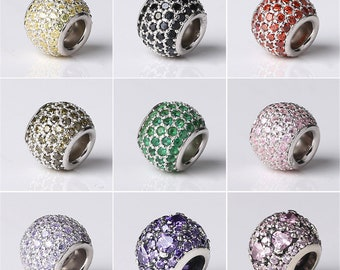 1pc Thai Silver Big Hole Charm Spacer Bead, Sterling Silver Crystal Europe Bead (CY084)