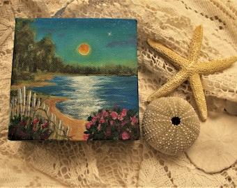 "Moon Ocean Sea Marsh Beach Roses Original signed Acrylic Painting square 4""x 4""x 1.5"""