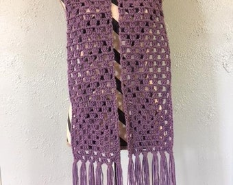 Granny Square Scarf, Crocheted Scarf, Ladies' Scarf