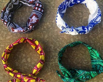 Colourful headbands hand-stitched in the South Pacific. Custom-made by local Fijian Women