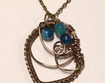 Blue Agate Wire Wrapped Bronze Pendant