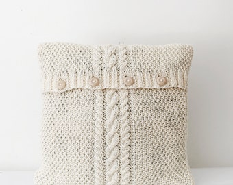 Cable hand knitted new pillow cover - white milk decorative pillows case - handmade home decor 16x16  0178