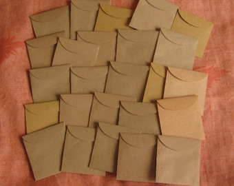 "25 Mini Brown Envelopes - Recycled Envelopes - Recycled Mini Envelopes - Tiny Envelopes - 1 7/8"" x 2"""