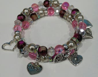 AVBeads Memory Wire Bracelet Beaded 2-Layer Wrap with Charms Valentine's 1