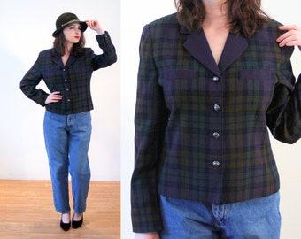 80s Plaid Jacket M Petite, Green Purple Dark Plaid Cropped Boxy Rayon Vintage Women's 1980s Blazer, Medium