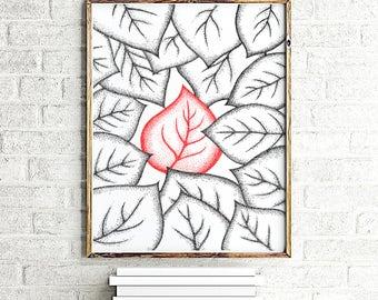 Printable leaves art, instant download print leave, minimalist painting, black red wall decor, autumn leaves, leaf print wall art, botanic