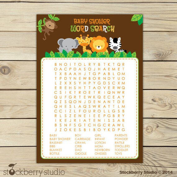 Safari Animals Baby Shower Word Search Game Jungle Baby