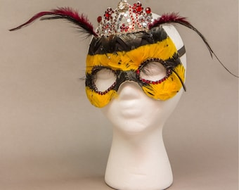 Honey Bee Mask Theater/Fancy Dress Hand Feathered