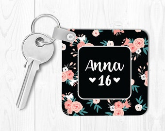 Sweet 16 Keychain Sweet 16 Gift for Sweet 16 Birthday Gift Monogrammed Key Chain Personalized Keychain Floral Keychain Custom Keychain Pink