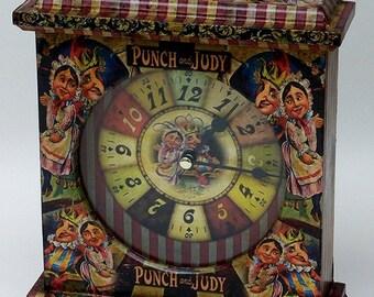 Punch and Judy Clock. Unusual Clock. Special Clock.  Unique Clock. Nursery Clock. Punch and Judy. Carriage Clock. Mantel Clock.