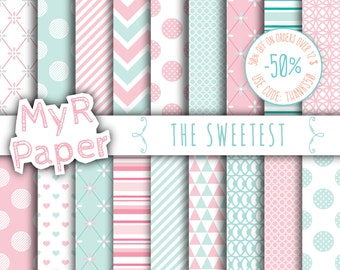 "Digital paper: ""THE SWEETEST"" paper pack & backgrounds for mother's day, valentine's day, wedding, love, baby in pink and mint"