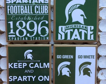 COASTERS! Michigan State coasters with gold trim
