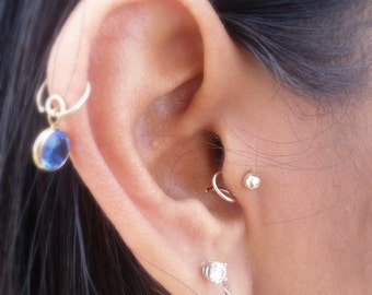 Tragus Earring Stud • Cartilage Jewelry • 14k Yellow Rose White Gold Sterling Silver • Coil Style Bead Cartilage Earring Body Jewelry