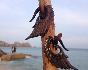 Hand-carved Wooden Tribal Earrings Fake Gauge