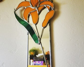 Cheery One-Of-a-Kind Orange Lily Stained Glass Mirror
