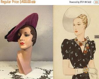 Bi-Annual Sale 35% Off Imogen Pinkhurst Triumphs Again - Vintage 1930s Rare Magenta Velvet Pancake Side Hat w/Black Large Tassel