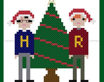 Harry Potter Ron Weasley Magical Christmas cross stitch card - PDF Pattern