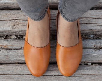 Camel Leather Shoes, Camel Shoes, Loafers, Flat Shoes, Yellow Shoes, Camel