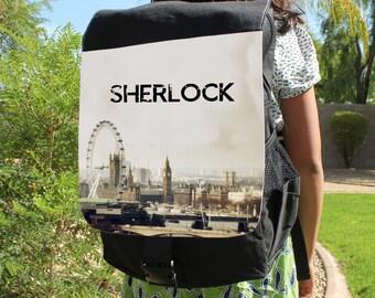 "SHERLOCK  ""Opening Theme London"" Canvas Backpack Bag"