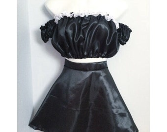 Black Satin Circle Skirt Set