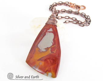 Noreena Jasper Necklace, Australian Stone Necklace, Unique Stone Jewelry, Reversible Pendant Necklace, Burgundy Red Stone Pendant with Chain