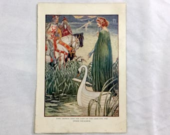 Walter Crane Art 1911 Knights of the Round Table King Arthur Asks Lady of the lake for Sword Excalibur Color Print
