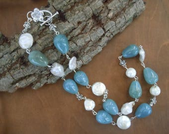 Angelite and natural pearls necklace