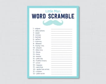 Mustache Baby Shower Word Scramble Game - Printable Instant Download - Blue and Aqua Little Man Word Scramble - 0002-A