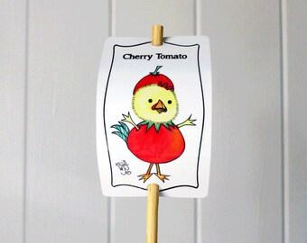 Vegetable Sign Cherry Tomato for Gardens Humor Decor Aluminum UV Safe Metal