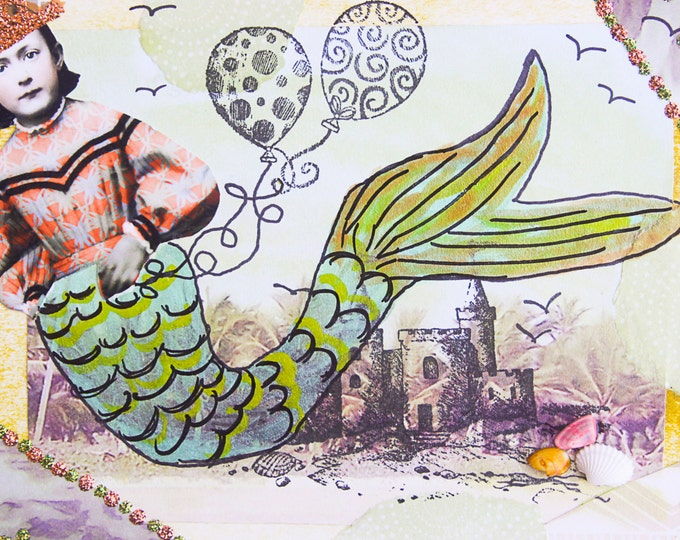 Handmade Altered Art Folded Greeting Card, Size 5x7, 3D, Blank Inside, Mermaid with Balloons