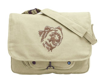 Northwoods Silhouette Grizzly Bear Embroidered Canvas Messenger Bag