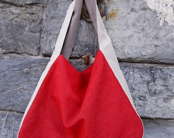 Two-tone fabric hobo bag