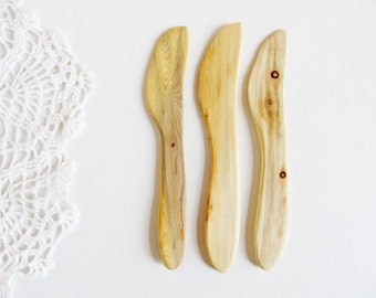 FREE SHIPPING, Juniper Wood Butter Knives Set of 3, Natural Handmade Home Decor, Kitchenware, Rustic  Wooden Kitchen Utensil, Untreated Wood