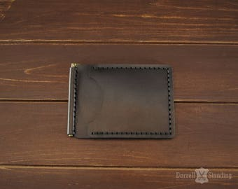 Leather money clip Men's billfold, Brown leather wallet, Small wallet SW0065b