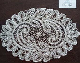Bobbin doily W-5 Russian  bobbin lace handmade lace