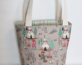 Large Knitting or Crochet Project Bag. Foxes Camping Cotton Tote Bag.