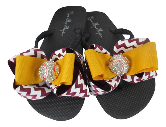 Baseball and bling with amp; ladies Gold Chevron Maroon baseball girls sandals flip team flop bow moms for 7t1q7zS8n