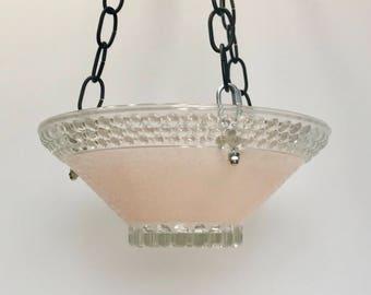 Hanging pink glass bird feeder, garden art bird bath, hanging bird feeder, pink bird feeder, bird feeder glass, garden art glass,