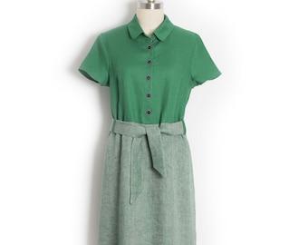 Green linen dress - A line shirt dress - 1950s shirtwaist dress - Chemisier with sash belt - Vintage style dress - Linen shirt dress