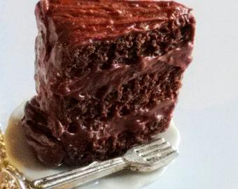 Triple Layer Chocolate Cake Necklace - Miniature Food Jewelry, Kawaii Jewelry, Inedible Jewelry, Chocolate Cake Jewelry - Dessert Jewelry