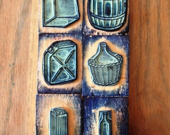 wood stamps: set of authentic vintage stamps depicting containers