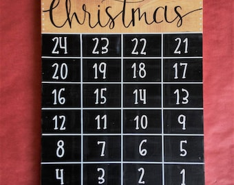 Sleeps until Christmas/ Countdown calendar/ Christmas Decor/ Sign/ Handlettering