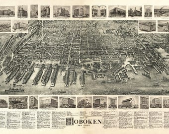 Hoboken, New Jersey - (1904) - Panoramic Map (Art Print - Multiple Sizes Available)